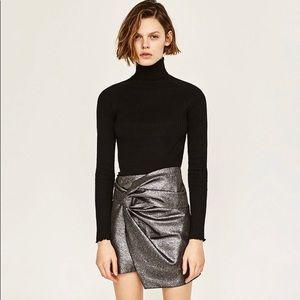 Zara Shiny Black Silver Metallic Twist Front Skirt